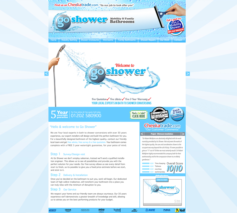 Go Shower webpage